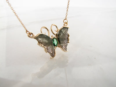 green-tourmaline-yellow-gold-butterfly-necklace-wexford-jewelers