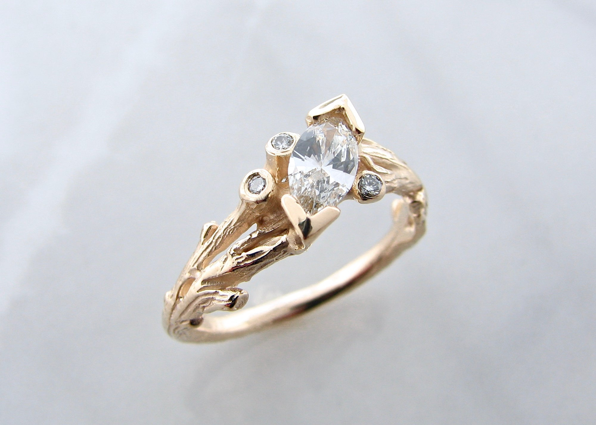 Marquise Diamond Yellow Gold Engagement Ring Tree Branches Wexford Wexford Jewelers