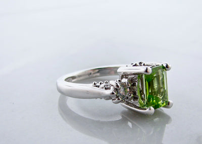 Peridot Moissanite Silver Ring, Old Paris