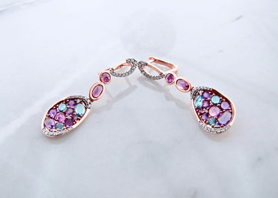 rose-gold-garnet-amethyst-blue-topaz-diamond-earrings-wexford-jewelers