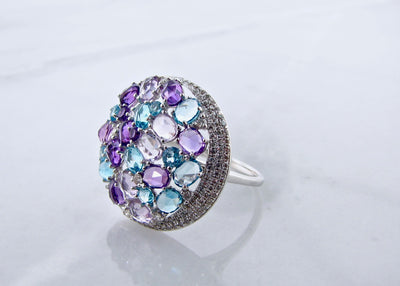 rose-cut-purple-pink-blue-color-gemstone-14K-ring-wexford-jewelers