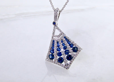 sapphire-diamond-white-gold-necklace-kite-shape-wexford-jewelers