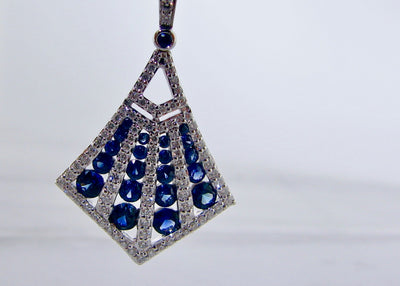 kite-shape-white-gold-blue-sapphire-diamond-necklace-wexford-jewelers