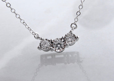 White Gold Diamond Split Chain Necklace, Perfect Three