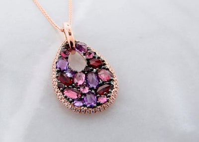 pink-purple-red-rose-cut-gemstone-pink-gold-diamond-necklace