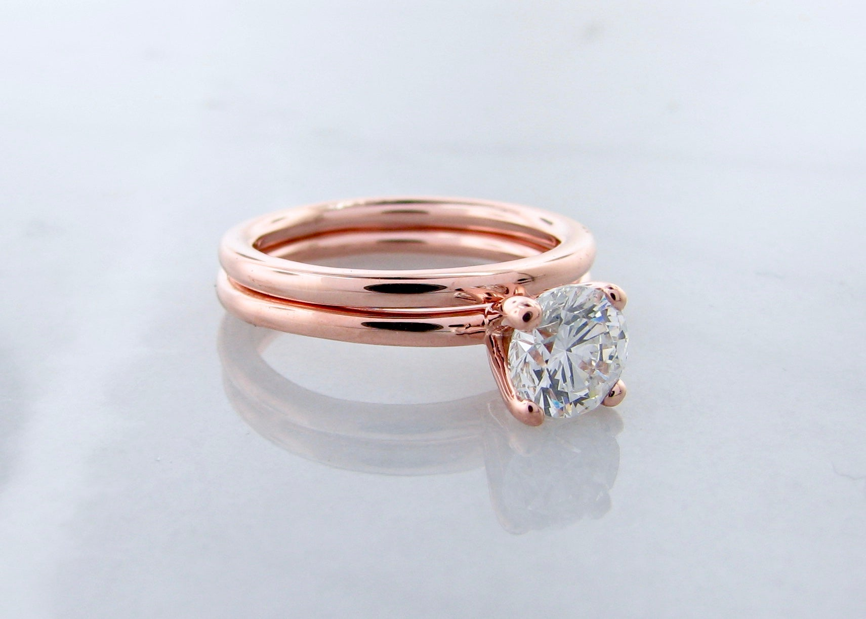 Brilliant Cut Diamond Rose Gold Engagement Ring Set Simplicity Wexford Jewelers