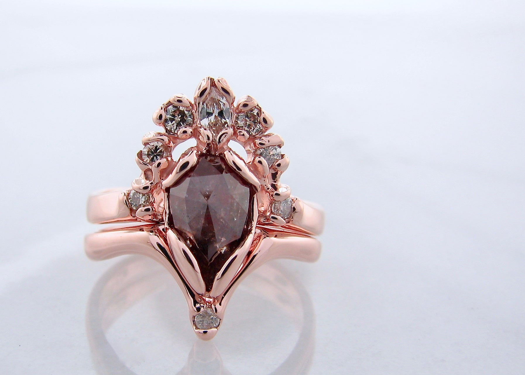 Rose Gold Wedding Ring.Cognac Rose Cut Rustic Diamond Rose Gold Wedding Ring Set Coquette