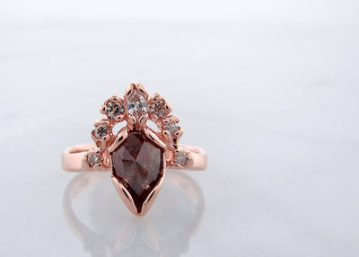 crown-rough-cut-chocolate-diamond-14K-rose-gold-wedding-ring-set