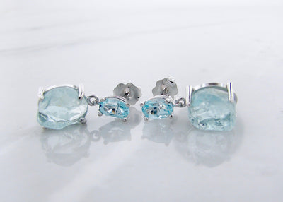 silver-aquamarine-raw-faceted-gemstone-dangle-earrings-wexford-jewelers