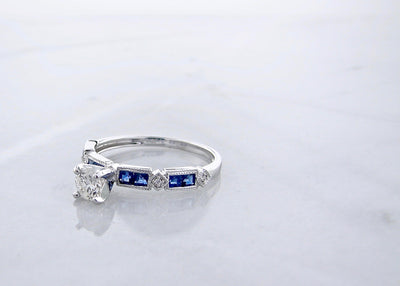 Diamond Princess Cut Blue Sapphire White Gold Engagement Ring, Art Deco
