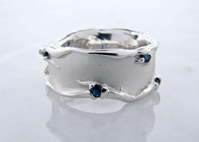 melted-silver-ring-blue-sapphire-wexford-jewelers