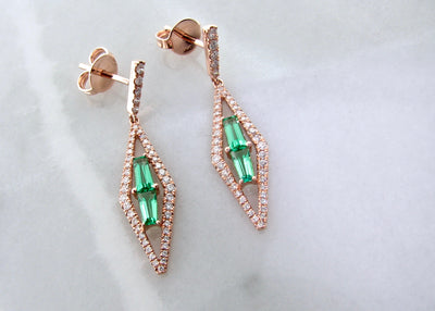 green-quartz-diamond-accent-rose-gold-earrings-wexford-jewelers
