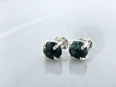 Michigan-green-stone-silver-earring-studs-wexford-jewelers