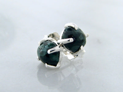 Michigan-state-stone-green-silver-earring-studs-wexford-jewelers