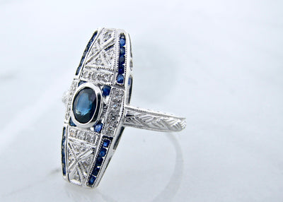 wexford-jewelers-white-gold-vintage-ring-blue-sapphire-diamond-accent