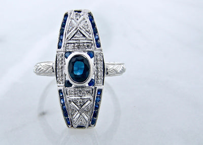 art-deco-white-gold-diamond-sapphire-ring-wexford-jewelers
