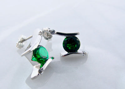 lab-emerald-silver-earrings-wexford-jewelers