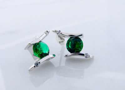 frank-reubel-silver-earrings-wexford-jewelers-lab-emerald