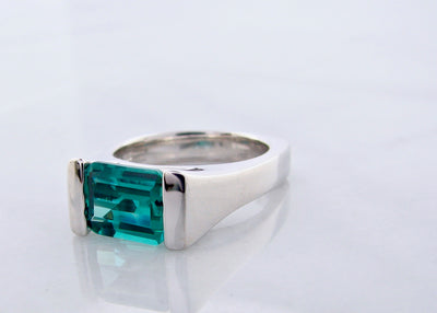 Blue Green Topaz Silver Ring, Reflected Teal