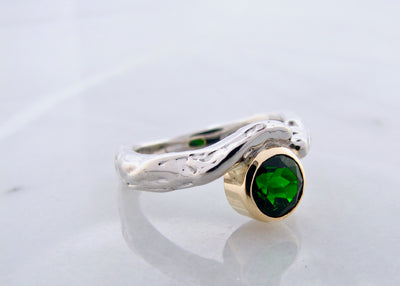yellow-gold-accent-silver-chromediopside-ring-frank-reubel-wexford-jewelers