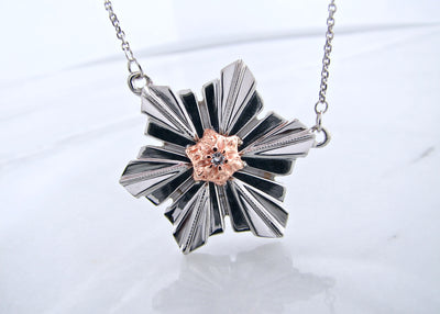 snowflake-necklace-rose-gold-silver-split-chain-necklace-wexford-jewelers