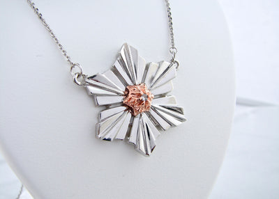 art-deco-snowflake-necklace-rose-gold-diamond-silver-wexford-jewelers