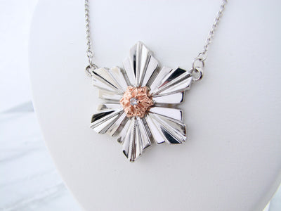 art-deco-silver-snowflake-rose-gold-diamond-split-chain-necklace-wexford-jewelers