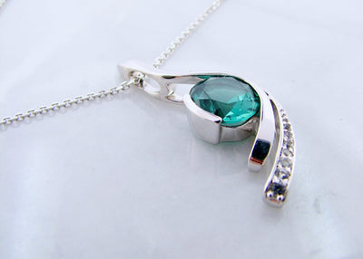 silver-pendant-white-sapphire-blue-green-quartz-necklace-wexford-jewelers