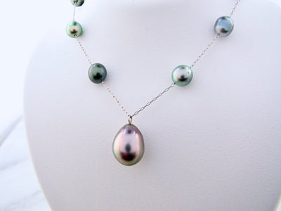 Tahitian Keshi Pearl White Gold Pearl Necklace