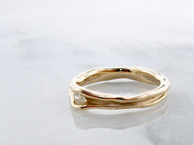 .15ct-diamond-ring-14K-yellow-gold-melted-band