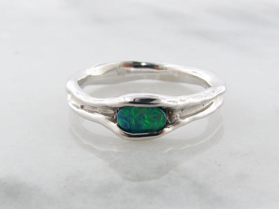 horizontal-opal-silver-melted-ring-wexford-jewelers