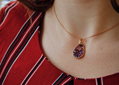 rose-cut-red-purple-gemstone-rose-gold-necklace-wexford-jewelers