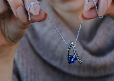 cornflower-blue-white-sapphire-silver-necklace-tanzanite-wexford-jewelers