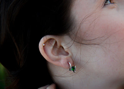green-gemstone-offset-earring-post-silver-model-wexford-jewelers