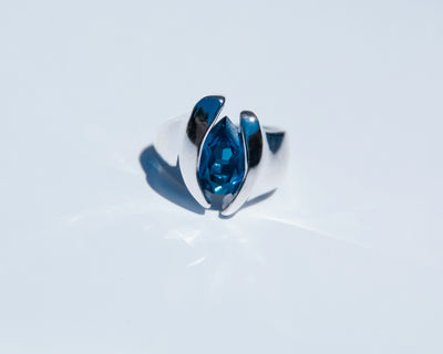 Quotations London Blue Topaz Silver Ring