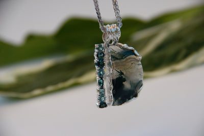 moss-agate-blue-green-silver-tourmaline-necklace-wexford-jewelers