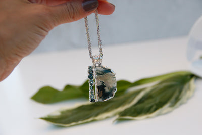 green-tourmaline-moss-agate-silver-necklace-wexford-jewelers