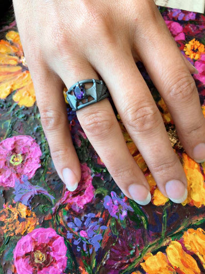 Amethyst Black Silver, Bat Ring
