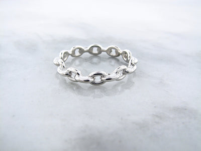 Silver Ring, Chain Link Band