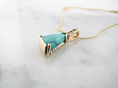 yellow-gold-14K-black-diamond-kingman-turquoise-necklace-wexford-jewelers