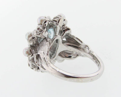 Aquamarine Pearl Silver Ring, Grandma's Jewel Box