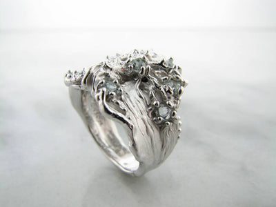 Trillion Cut Aquamarine Silver Ring, Tree of Life