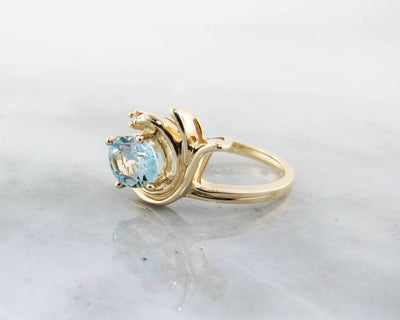 Aquamarine Yellow Gold Ring, Oval Swirl