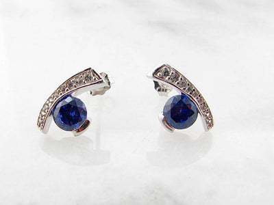 Tanzanite Sapphire Silver Earrings, Miami Blue