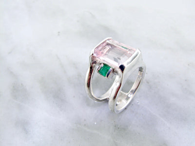 silver-blush-tone-emerald-cut-gemstone-ring-wexford-jewelers