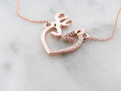 deer-doe-hunter-14K-rose-gold-diamond-necklace-wexford-jewelers