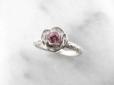 Baby Pink Topaz Silver Ring, Stacking Solitaire Rose