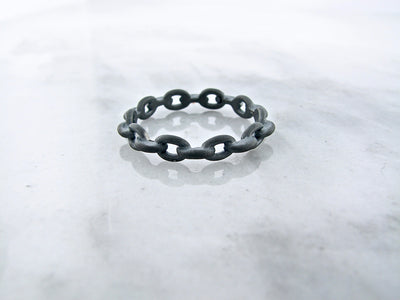 Black Silver Ring, Chain Link Band
