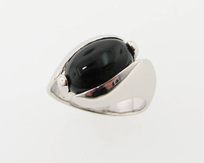 Black Onyx Silver Ring, Orbit