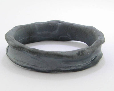 Black Silver Ring, Medium Melted Band